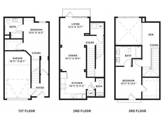 1,400 sq. ft. TH1 floor plan