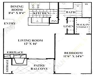663 sq. ft. A3 floor plan