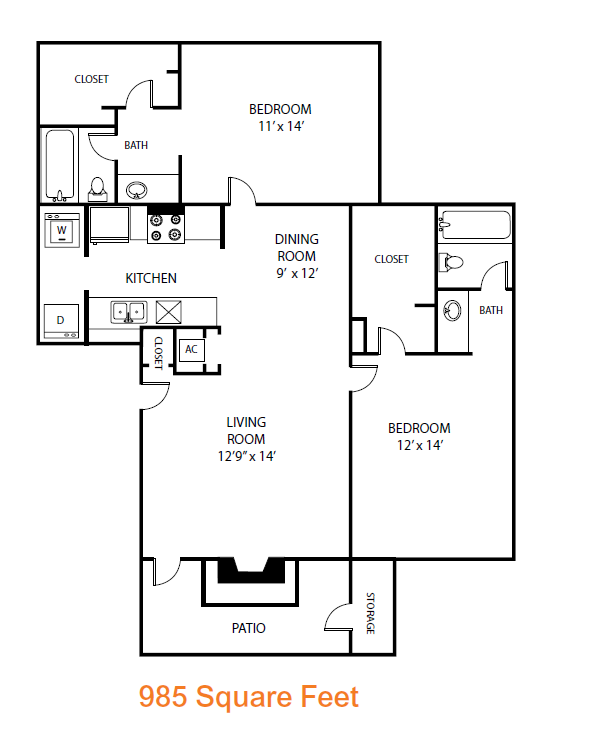 985 sq. ft. Chestnut floor plan