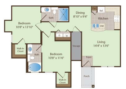 1,014 sq. ft. SHAVER floor plan