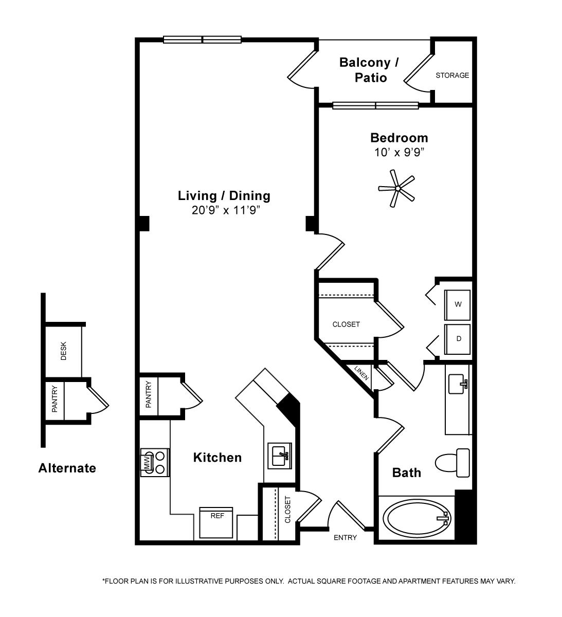 687 sq. ft. Capri floor plan