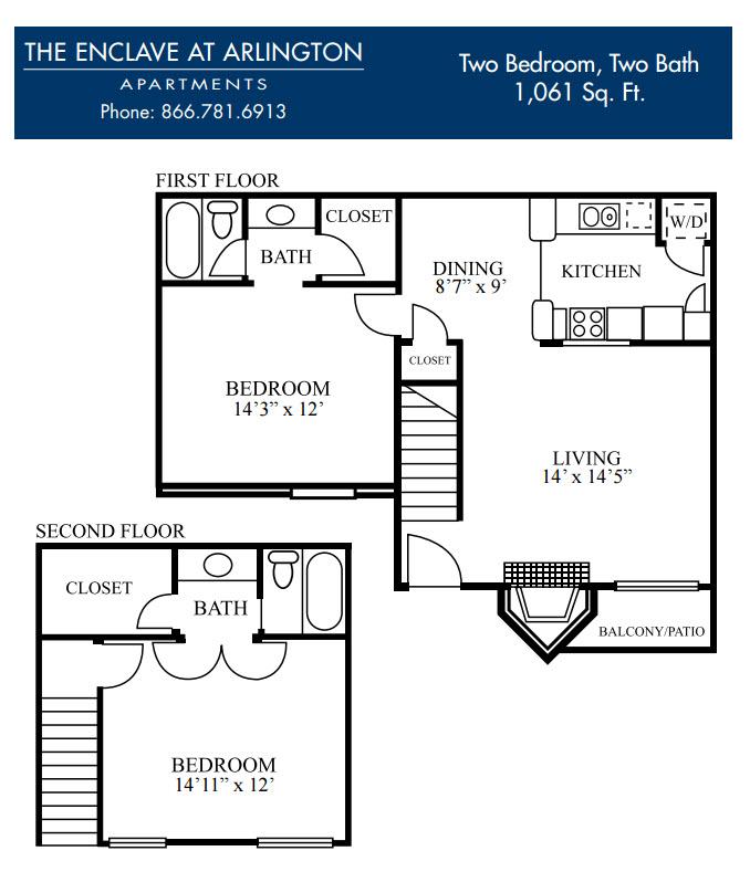 1,061 sq. ft. J floor plan