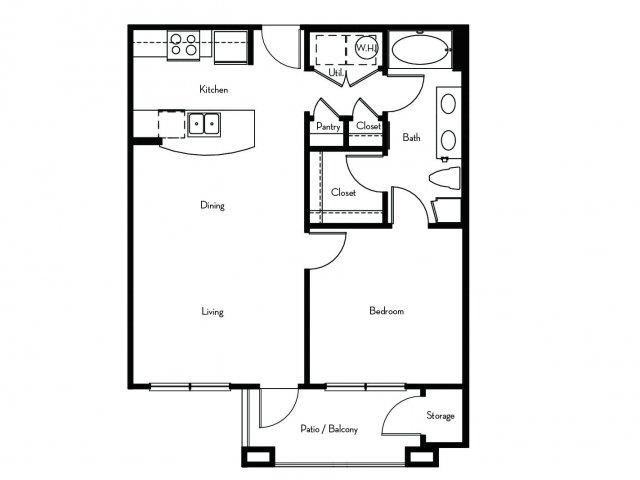 730 sq. ft. A2 floor plan