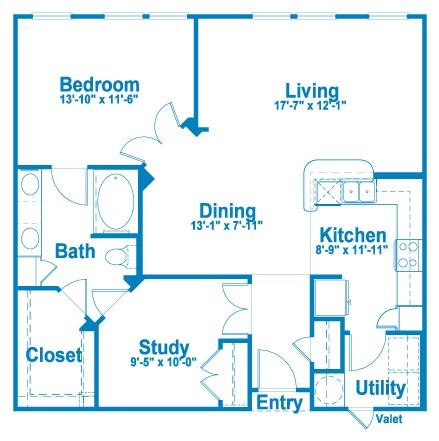 1,010 sq. ft. A6 floor plan