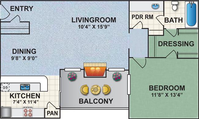 810 sq. ft. S1 floor plan