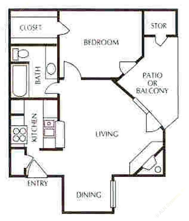612 sq. ft. A-3 floor plan