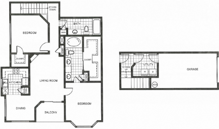 1,315 sq. ft. I2 floor plan