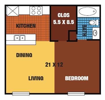 465 sq. ft. 60% floor plan