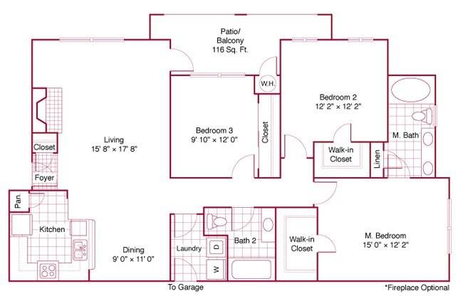 1,355 sq. ft. C1 floor plan