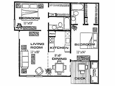 958 sq. ft. F1 floor plan