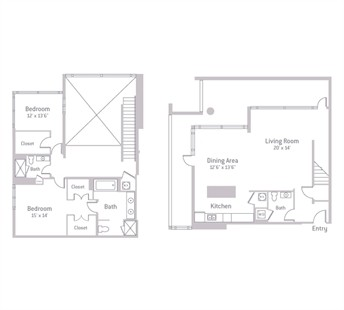 1,910 sq. ft. PENTHOUSE floor plan