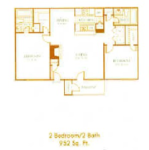 952 sq. ft. B2 floor plan
