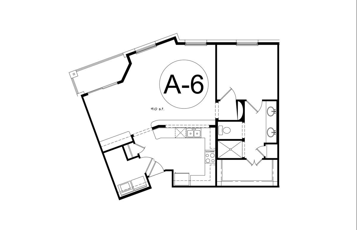 1,064 sq. ft. A6 floor plan
