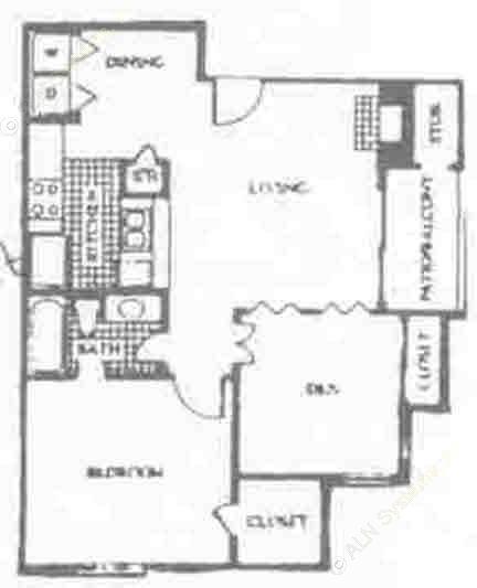 750 sq. ft. B floor plan
