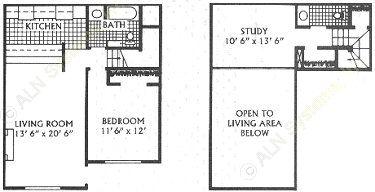 941 sq. ft. E floor plan