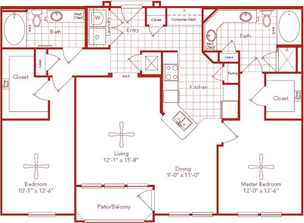 1,296 sq. ft. Binz floor plan