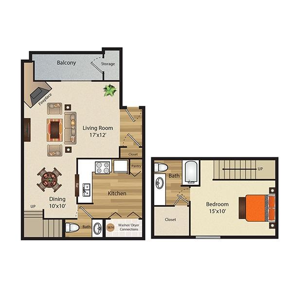 820 sq. ft. A2 floor plan