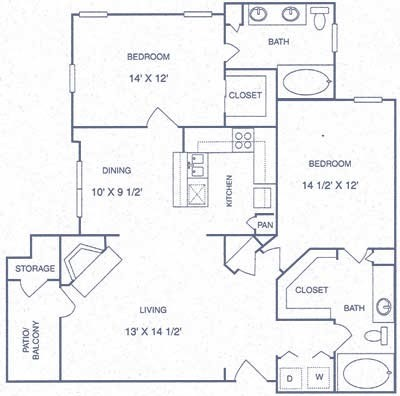 1,140 sq. ft. GP floor plan