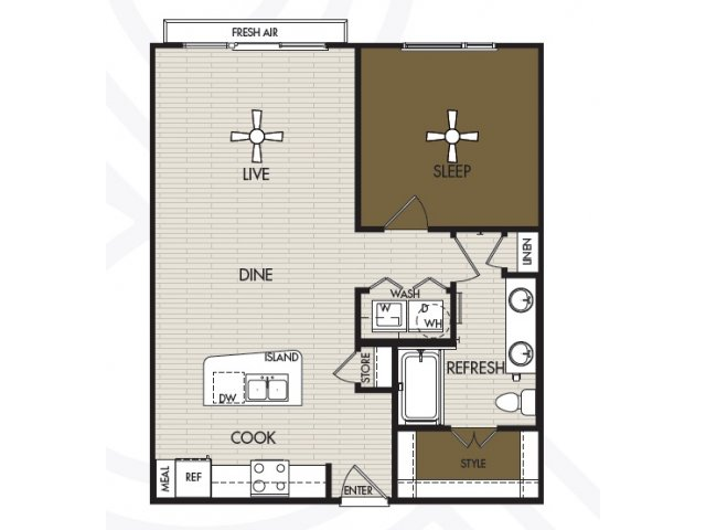 806 sq. ft. A2b floor plan