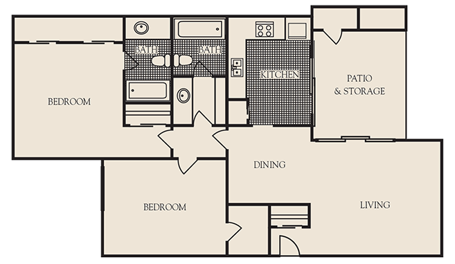 1,125 sq. ft. B1 floor plan