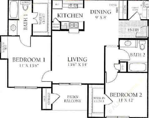 1,017 sq. ft. B2 floor plan