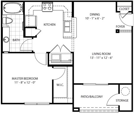 726 sq. ft. Canyon floor plan