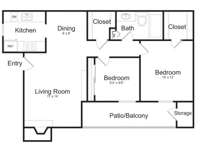 785 sq. ft. B1 floor plan