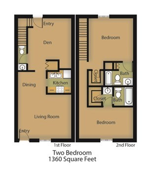 1,360 sq. ft. Oak floor plan