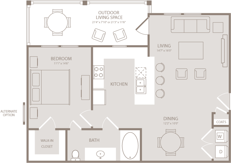 804 sq. ft. Damask floor plan