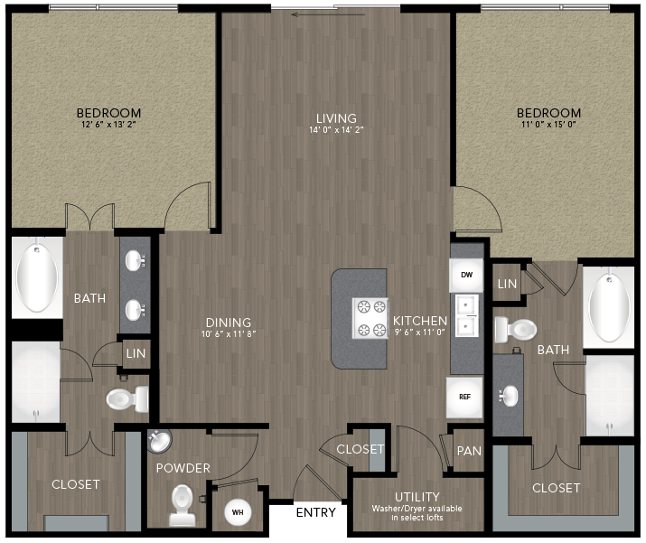 1,268 sq. ft. Kessler floor plan