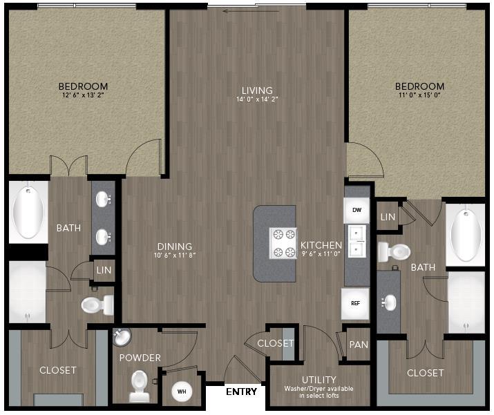 1,268 sq. ft. Kessler floor plan