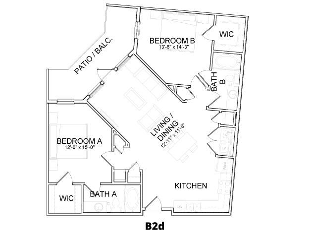 1,088 sq. ft. B2D floor plan