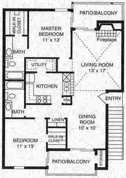 1,106 sq. ft. B-4 floor plan