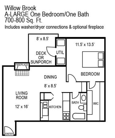 700 sq. ft. C/C1 floor plan