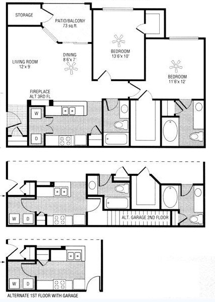 1,000 sq. ft. to 1,073 sq. ft. F floor plan