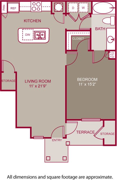 711 sq. ft. PURCELL I floor plan