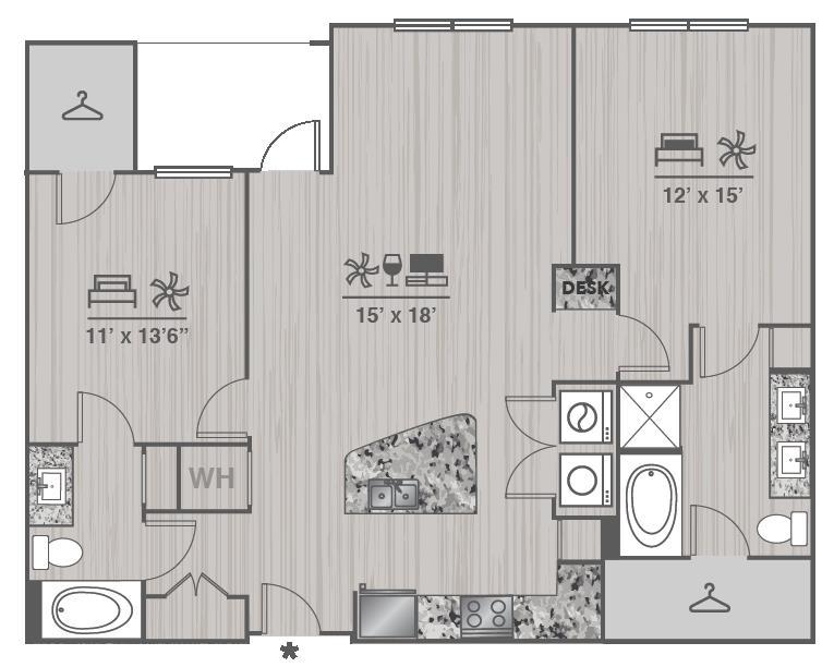 1,215 sq. ft. B2 floor plan