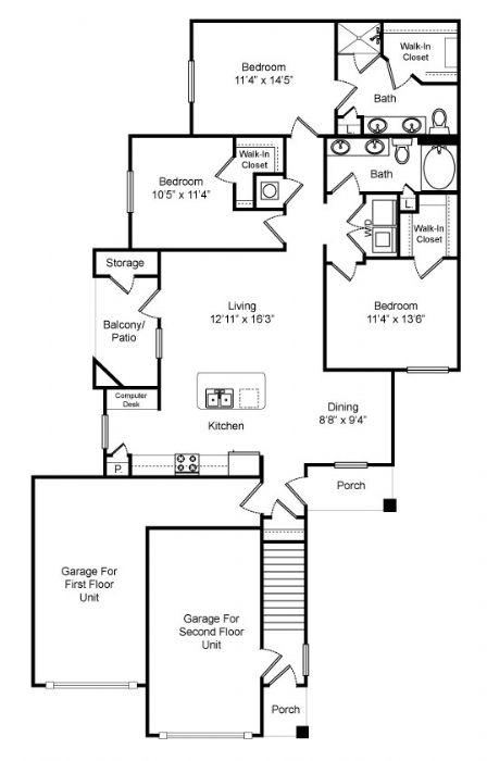 1,368 sq. ft. Stone Creek floor plan
