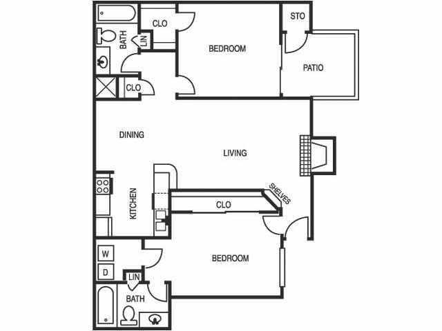 884 sq. ft. B2 floor plan