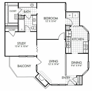 1,062 sq. ft. A5 floor plan