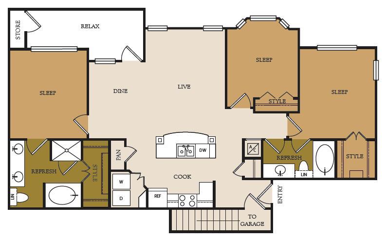1,367 sq. ft. C1-G floor plan