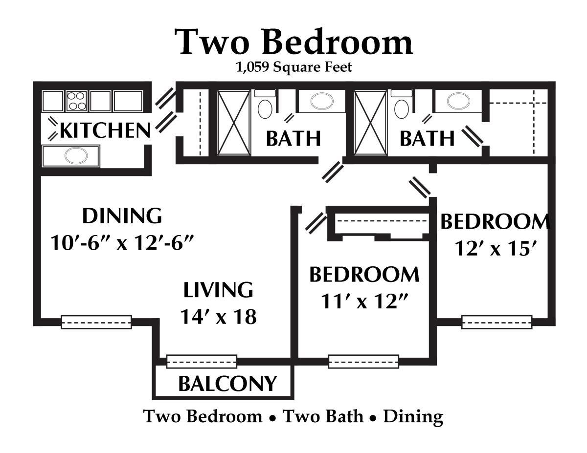 1,059 sq. ft. floor plan