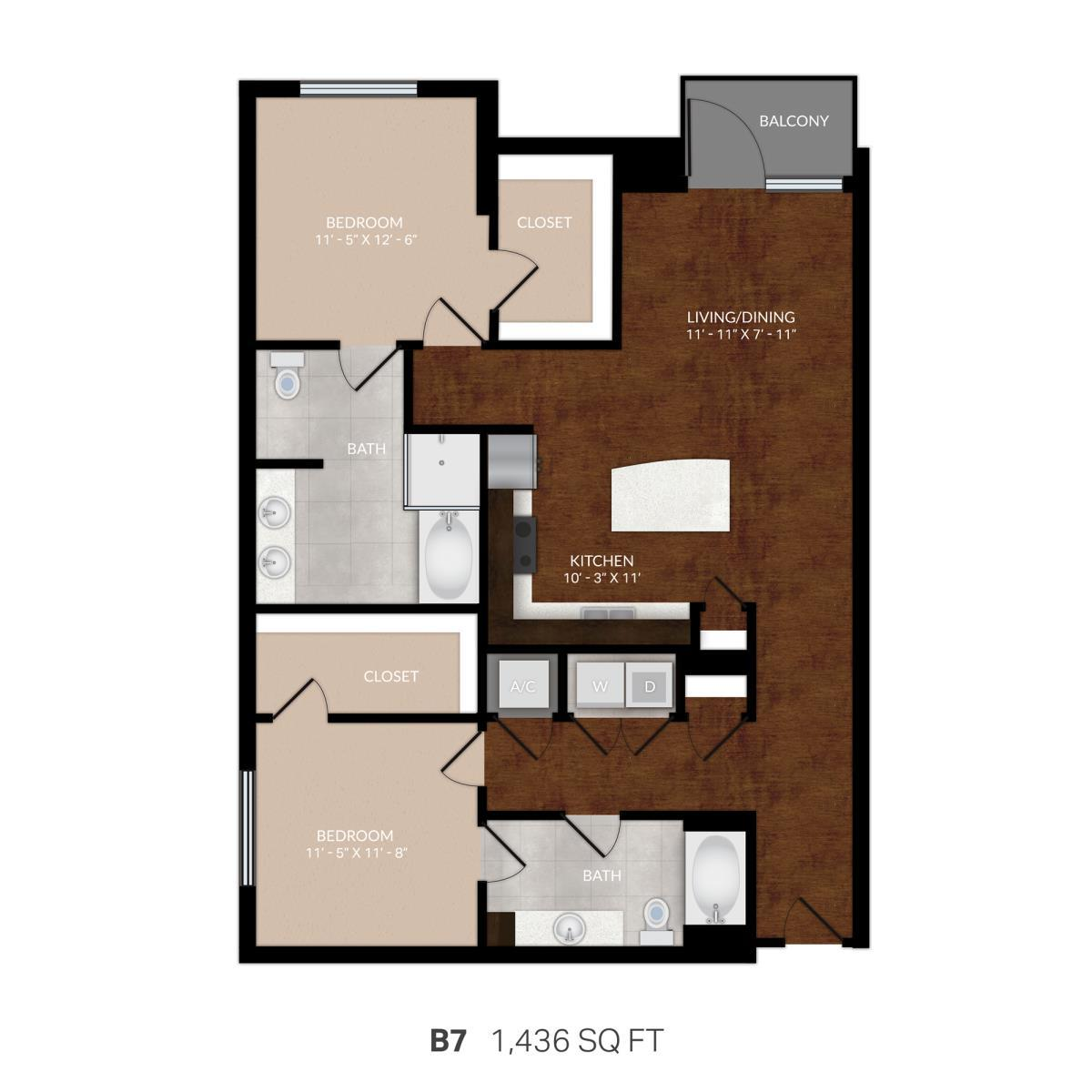 1,392 sq. ft. B7 floor plan