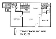 996 sq. ft. D floor plan