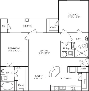 1,216 sq. ft. CORDOBA floor plan