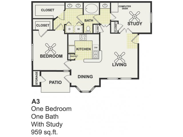 959 sq. ft. Compete floor plan