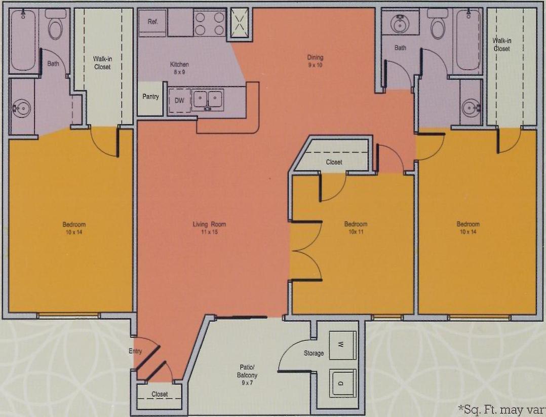 826 sq. ft. F floor plan