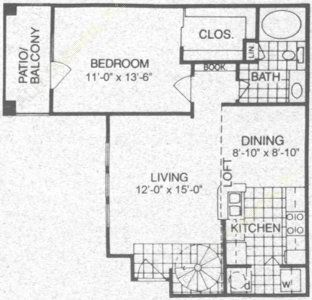889 sq. ft. A4 floor plan