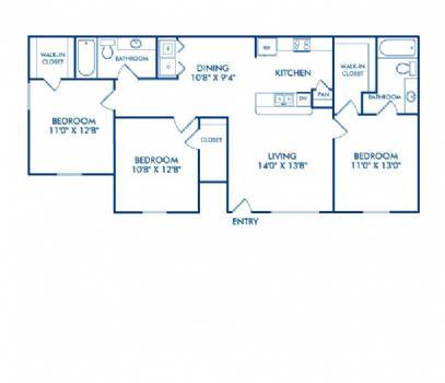 1,146 sq. ft. Trinity floor plan
