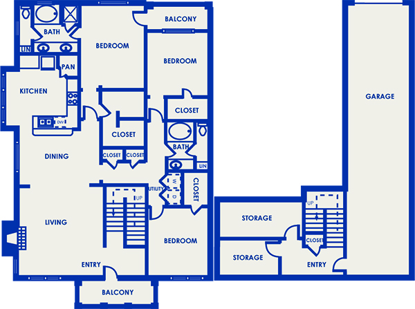 1,898 sq. ft. 32D floor plan